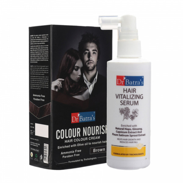 Dr Batra's Hair Vitalizing Serum With Colour Nourish Hair Colour Cream (Brown) Combo Pack