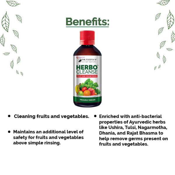 Dr. Vaidya's HerboCleanse Fruit and Veggie Wash, 200ml ( Pack Of 2)
