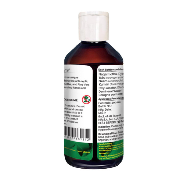 Dr. Vaidya's Herbocleanse Plus Hand Sanitizer, 200ml ( Pack Of 2)