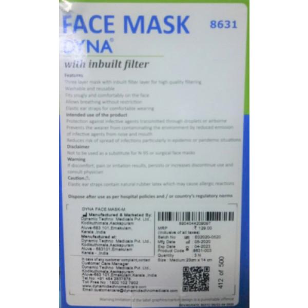 Dyna Washable Face Mask With Inbuilt Filter (Pack Of 3)