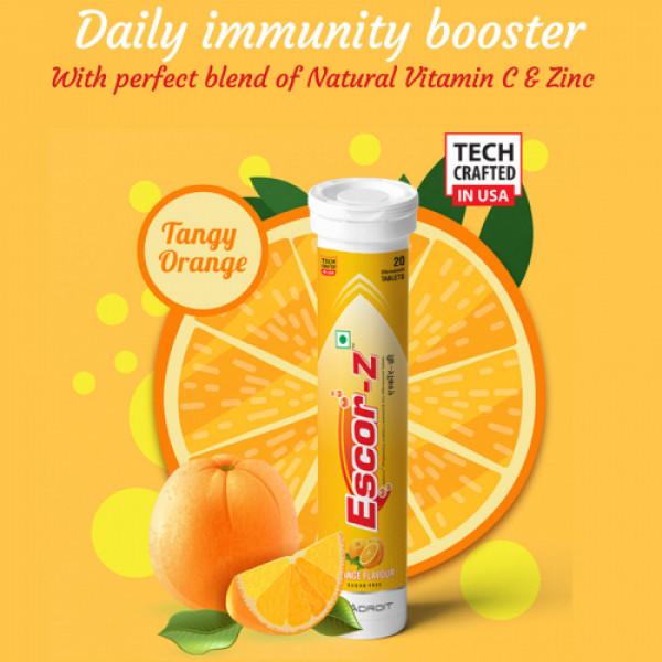 Escor-Z Effervescent Tablets Orange Flavour Pack of 6