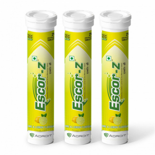Escor-Z Effervescent Tablets Lime and Lemon Flavour Pack of 3