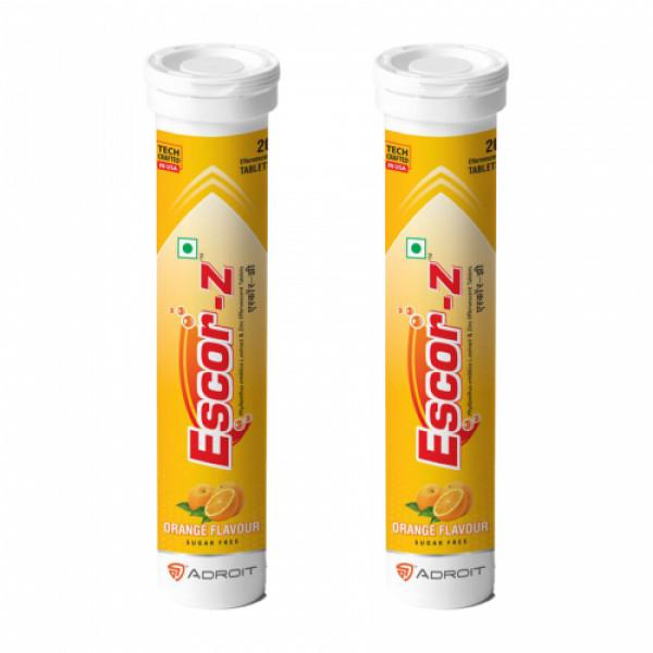 Escor-Z Effervescent Tablets Orange Flavour Pack of 2