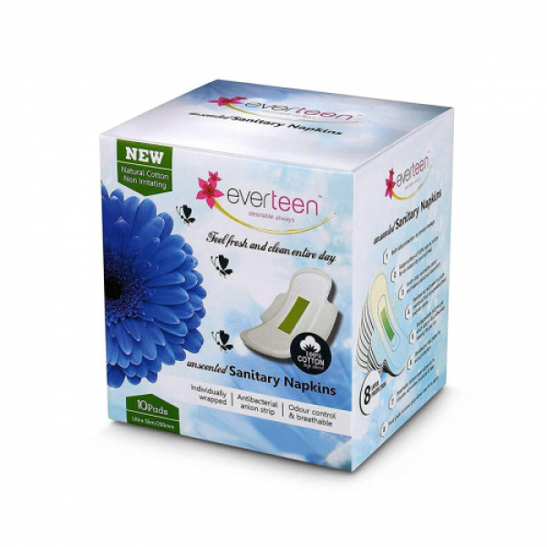 everteen Natural Cotton Top Sanitary Napkins, 10 Pieces (Unscented)