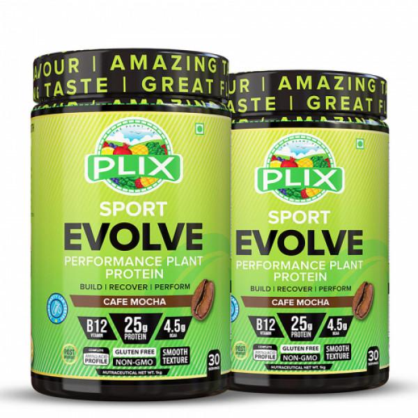 Plix Evolve Performance Plant Protein Powder Cafe Mocha Flavour, 2kg