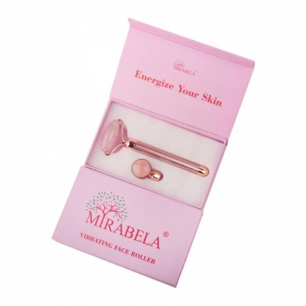 Mirabela Vibrating Face Roller 2 in 1 Electric Massager Rose Quartz
