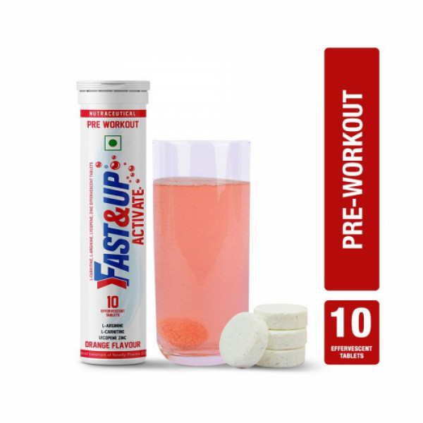 Fast&Up Activate Pre Workout Effervescent (Orange), 10 Tablets