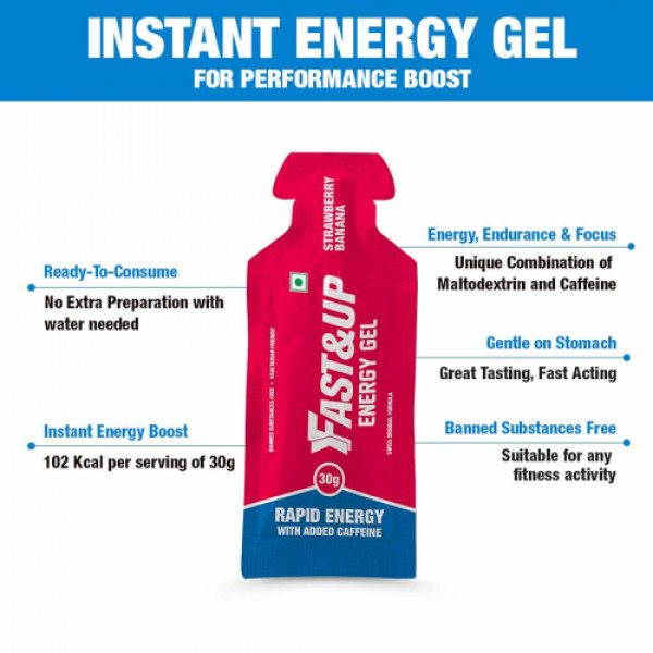 Fast&Up Energy Gel - Ready-To-Consume (Strawberry Banana), 5 Sachets