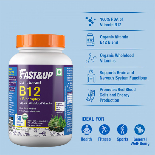 Fast&Up Plant Based B-12 + B-Complex, 60 Tablets