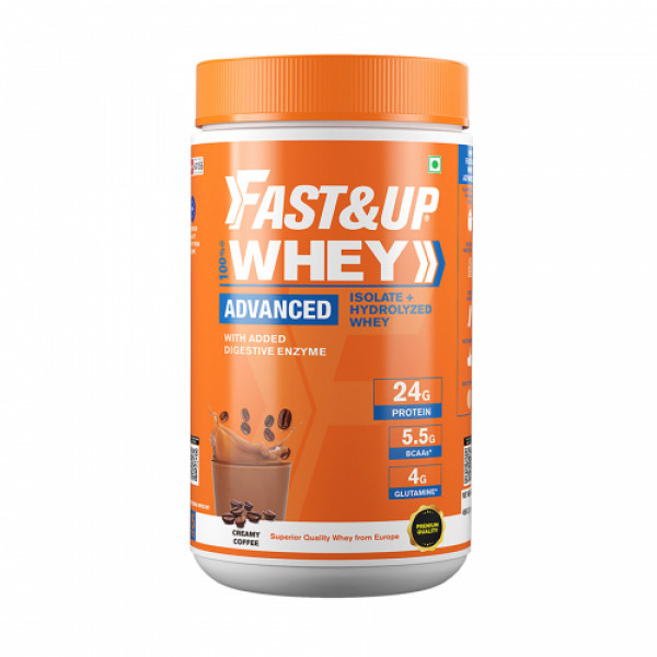 Fast&Up Whey Advanced Isolate & Hydrolyzed Whey Protein Creamy Coffee, 456gm