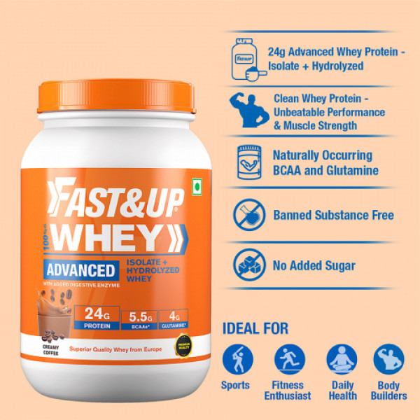 Fast&Up Whey Advanced Isolate & Hydrolyzed Whey Protein Creamy Coffee, 912gm