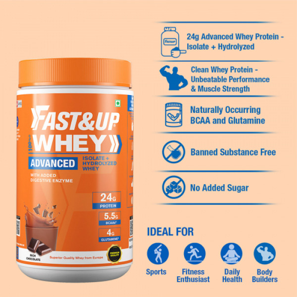 Fast&Up Whey Advanced Isolate & Hydrolyzed Whey Protein Rich Chocolate, 456gm