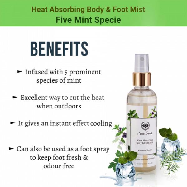 Seer Secrets Five Mint Specie Heat Absorbing Body & Foot Mist, 100ml