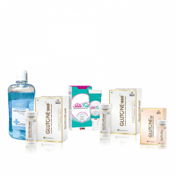 Glutone 1000 Pack of 2, Glutone 250mg Effervescent 15 Tablets, SkinFay Cream, 40gm & Bionova Hand Sanitizer, 500ml Saver Pack