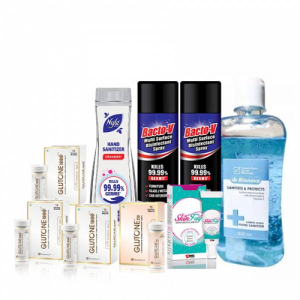 Glutone 1000 Pack of 3, Glutone 250mg Effervescent 15 Tablets, SkinFay Cream 40gm, Bacto-v Multi-Surface Disinfectant Spray Pack of 2, Nyle Hand Sanitizer 90ml (Strawberry) & Bionova Hand Sanitizer 500ml