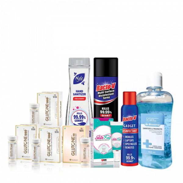 Glutone 1000 Pack of 3, Glutone 250mg Effervescent 15 Tablets, SkinFay Cream 40gm, Bacto-v Multi-Surface Disinfectant Spray, Bacto-v Gadget Disinfectant Spray, Nyle Hand Sanitizer 90ml (Strawberry) & Bionova Hand Sanitizer 500ml