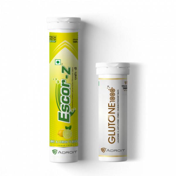 Skin Glow Combo Glutone 1000 with Escor Z (Lime & Lemon Flavour)