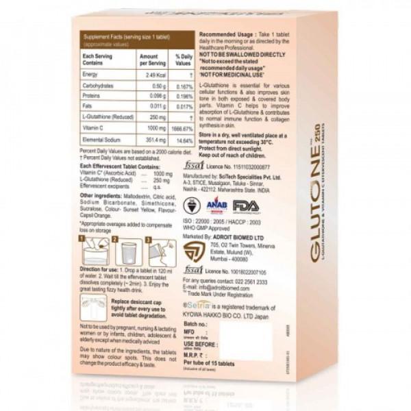 Skin Glow Glutone 250mg Effervescent, 15 Tablets