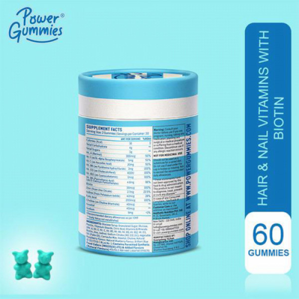 Power Gummies Hair Vitamins With Biotin, 60 Gummies (1 Month Pack)