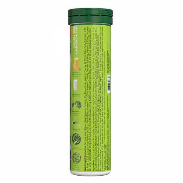Plix Life Green Elixir Wholefood Multivitamin Effervescent Lemon Flavour, 15 Tablets