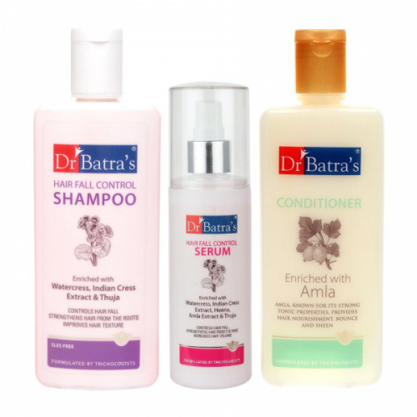 Dr Batra's Hair Fall Control Shampoo With Conditioner And Hair Fall Control Serum Combo Pack