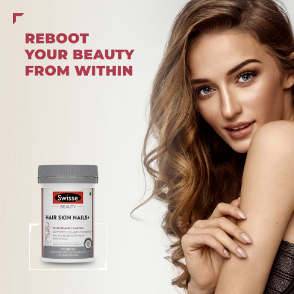 Swisse Beauty Hair Skin Nails+ with Vitamin C and Biotin for Healthy hair, 60 Tablets