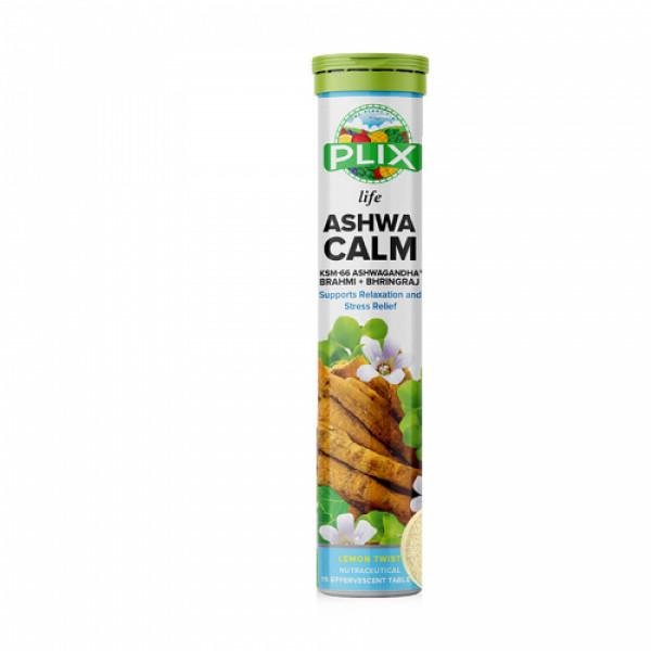Plix Life Ashwacalm KSM-66 Ashwagandha Effervescent Lemon Flavour, 15 Tablets