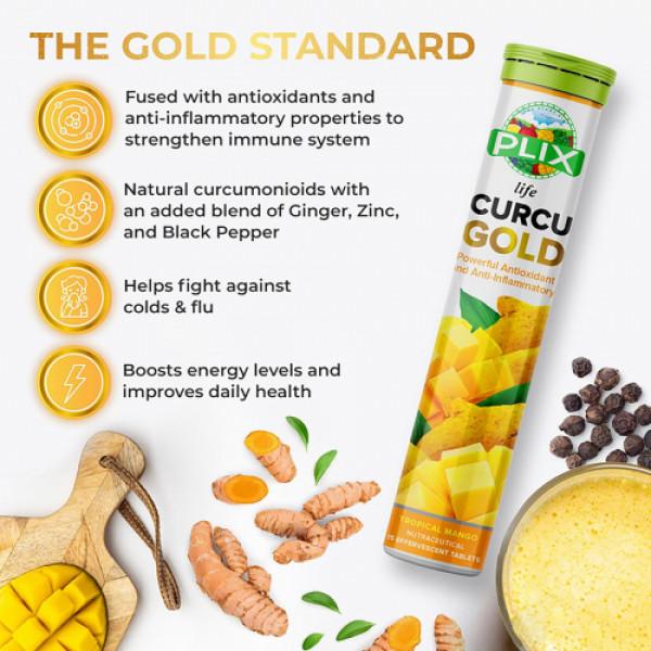 Plix life Curcu Gold Effervescent Tropical Mango Flavour, 15 Tablets