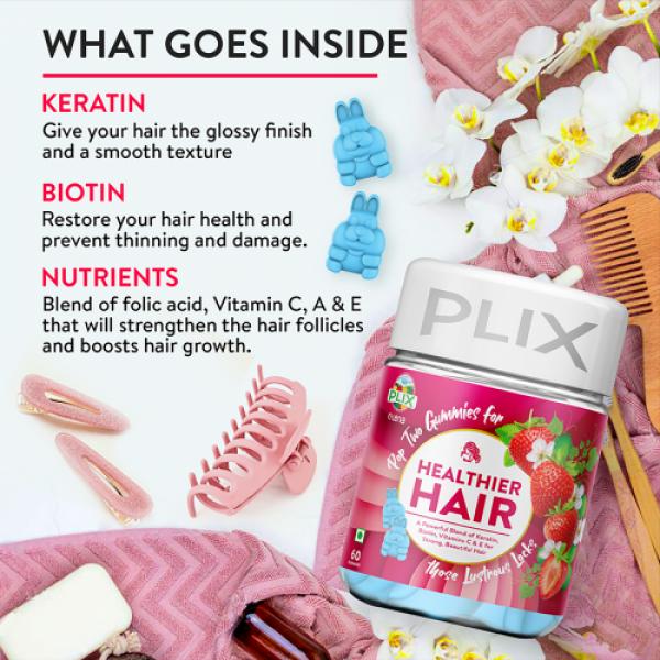 Plix Olena Plant-Based Healthier Hair Gummies Strawberry Flavour, 60 Servings
