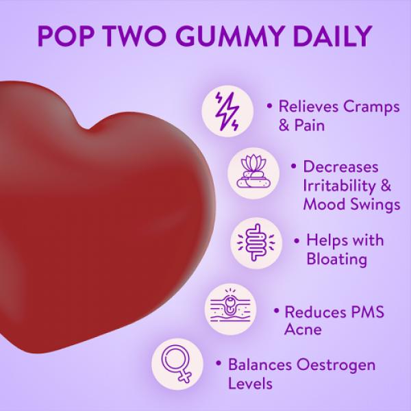 Plix Olena Plant-Based Goodbye PMS Gummies Raspberry Flavour, 60 Servings