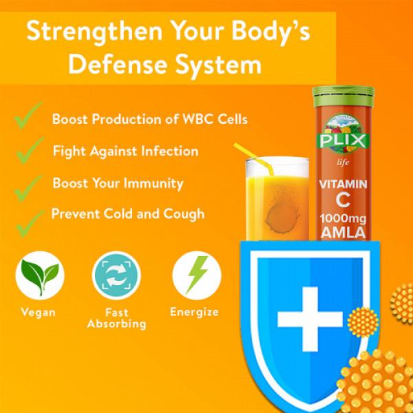 Plix Life Vitamin C 1000mg Amla & Zinc Effervescent Orange Flavour, 15 Tablets (Pack Of 4)