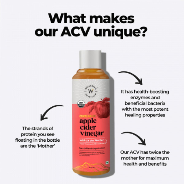 Wellbeing Nutrition USDA Organic Himalayan Apple Cider Vinegar (ACV) with 2X Mother Vinegar, 500ml