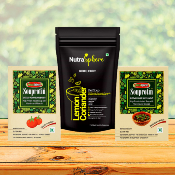 NutraSphere Tangy Tomato, Manchow, Lemon Coriander Instant High Protein and Diet Soup Powders (Pack of 3)