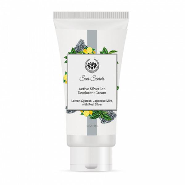 Seer Secrets Lemon Cypress Japanese Mint Active Silver Ion Deodorant Cream, 100gm