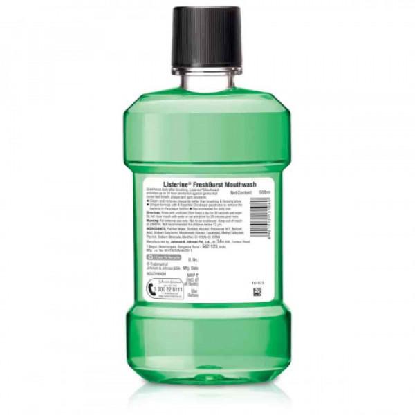 Listerine Fresh Burst Mouthwash, 500ml
