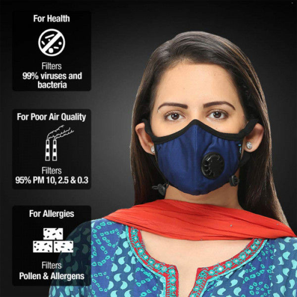 Dettol Cambridge Basic N95 Anti-Pollution Mask - Medium (Navy Blue)