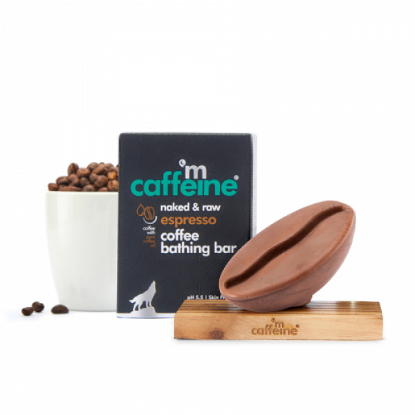 mCaffeine Naked & Raw Espresso Coffee Bathing Bar Soap for Deep Cleanse with Pure Coffee Oil, 100gm