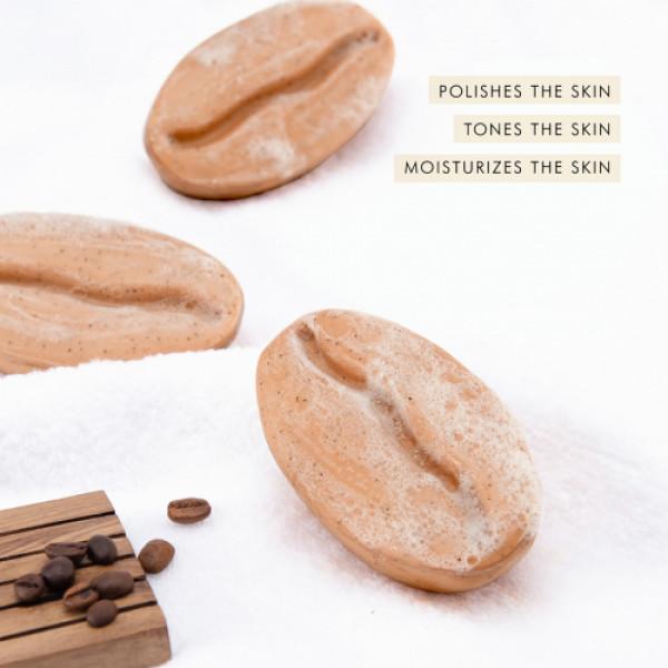 mCaffeine Naked & Raw Cappuccino Coffee Bathing Bar Soap (pH 5.5) for Polishing with Caramel, 100gm
