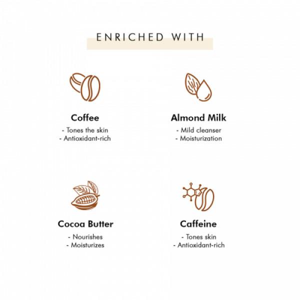 mCaffeine Naked & Raw Latte Coffee Bathing Bar Soap for Moisturization with Almond Milk, 100gm