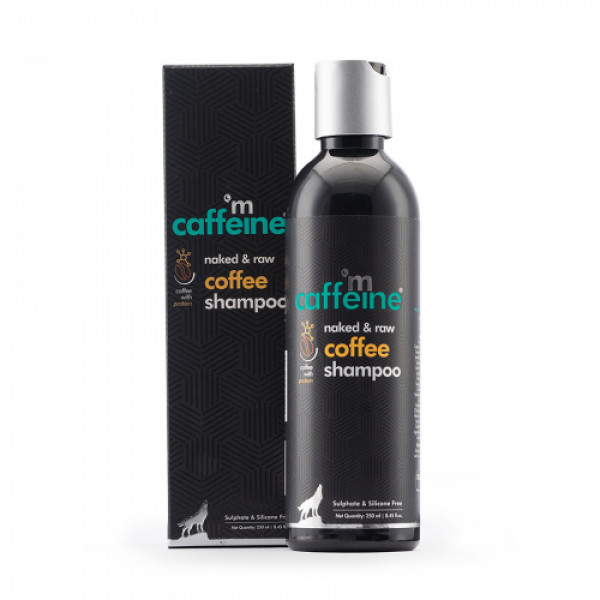 mCaffeine Naked & Raw Coffee Shampoo for Hair Fall Control with Protein & Argan Oil, 250ml