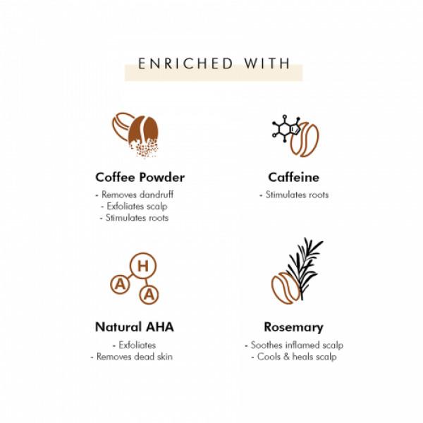 mCaffeine Naked & Raw Coffee Scalp Scrub for Dandruff Control & Scalp Exfoliation, 250gm