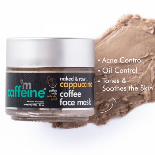mCaffeine Cappuccino Coffee Face Mask - Kills 99.9% Acne Causing Germs with Salicylic Acid, 100gm