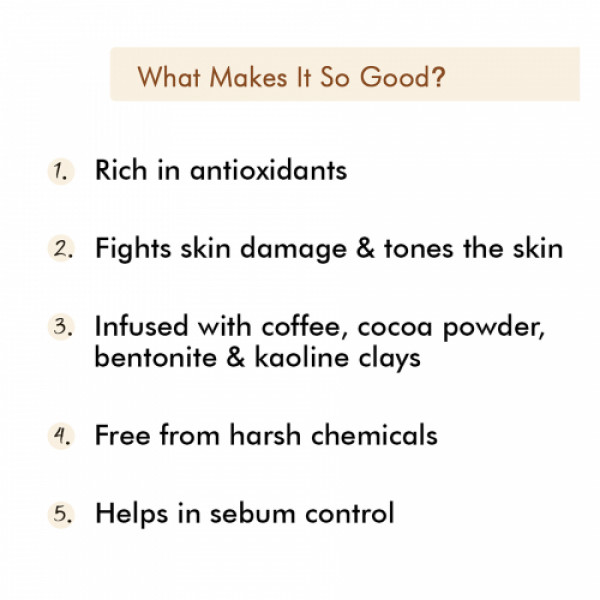 mCaffeine Mocha Coffee Face Mask for Skin Repair & Oil Control with Cocoa & Bentonite Clay, 100gm