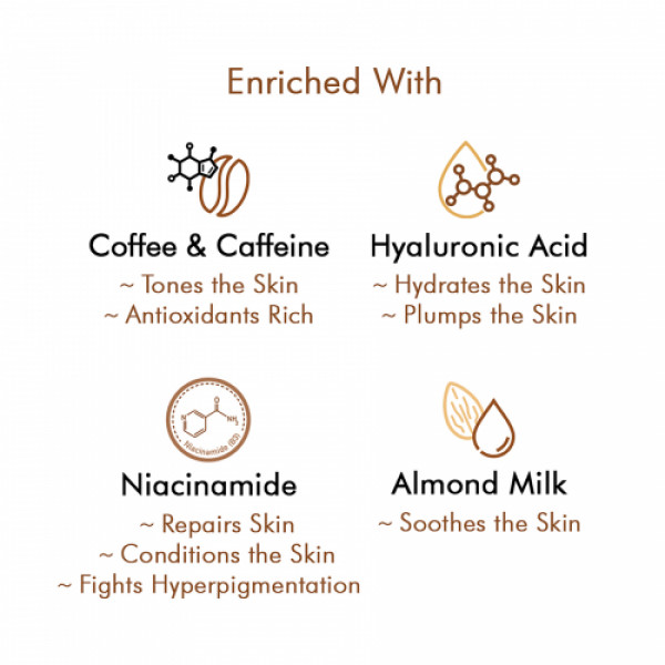 mCaffeine Latte Coffee Sleeping Face Mask with Niacinamide & Hyaluronic Acid for Hydration, 100gm