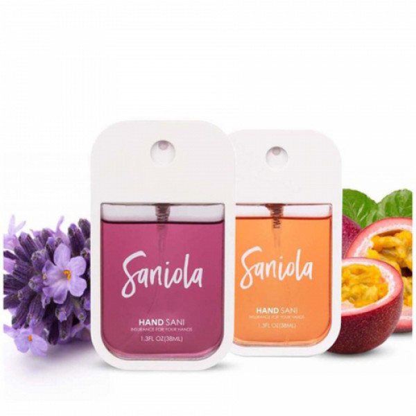 Saniola Floral Fruity Duo Floral Bomb & Passion Fruit Hand Sani, Pack of 2