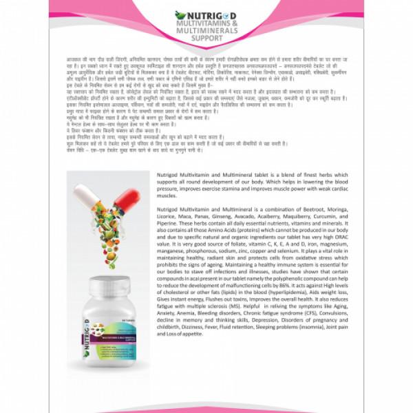 Nutrigod Multivitamin And Multimineral Support, 60 Tablets