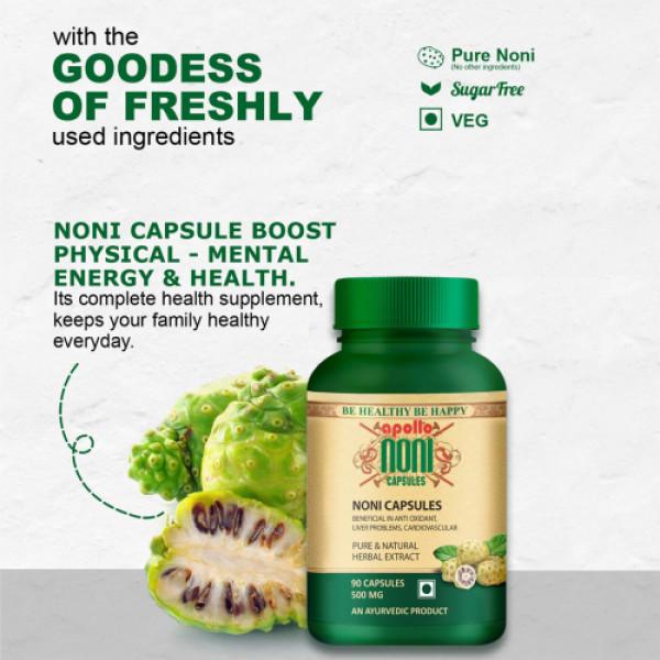 Apollo Noni Natural Herbal Extract 500mg, 90 Capsules