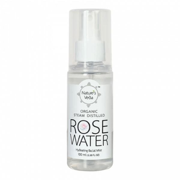 Nature's Veda Organic Steam Distilled Rose Water, 100ml