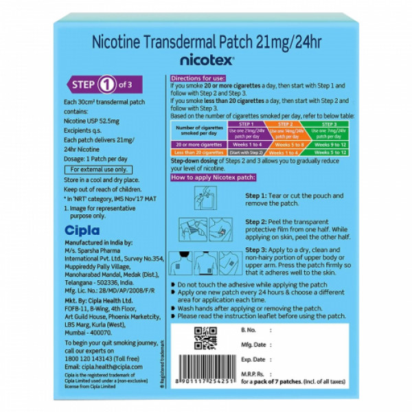 Nicotex Nicotine Patch 21mg, 7 Patches