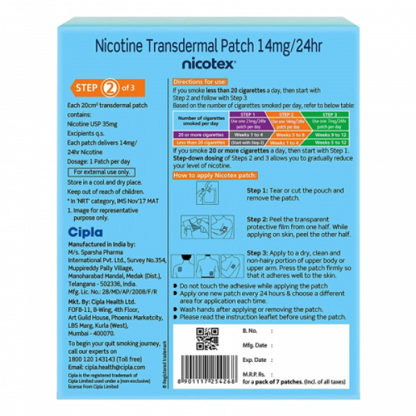 Nicotex Nicotine Patch 14mg, 7 Patches (Step 2 Pack)